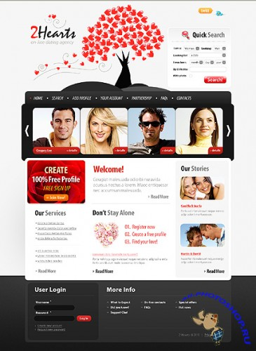 Free 2hearts Dating Website Template