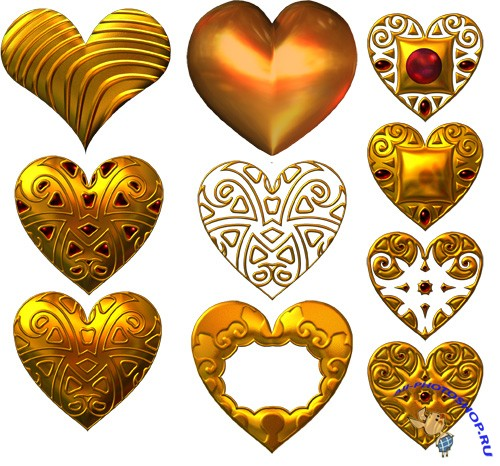PSD Cliparts - Gold Hearts