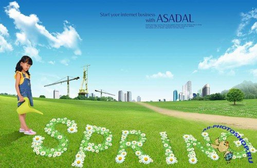 Watering flowers, spring posters PSD layered material