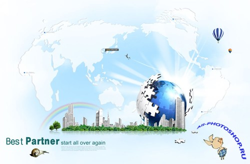 Earth puzzle creative design PSD layered material