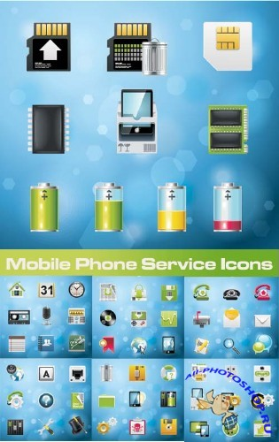 Mobile Phone Service Icons - Stock Vectors | ��������� �������� � ������, ������, ������