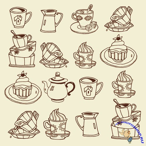 Stock Vector – Sweet Cake and Coffee