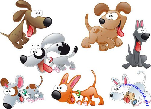 PSD Cartoon Funny Dogs / PSD, eps
