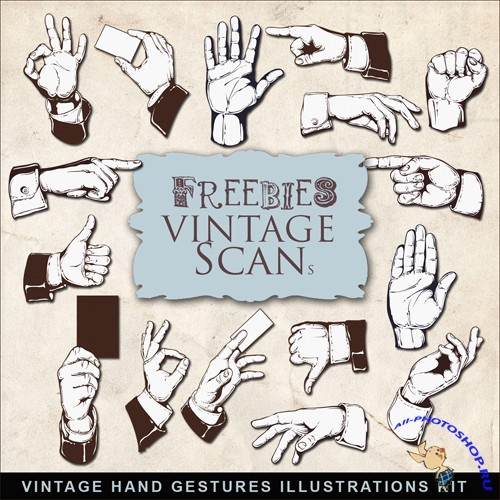 Scrap-kit - Vintage Hand Gestures Illustrations