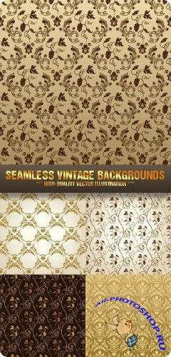 Stock Vector - Seamless Vintage Backgrounds | Винтажный фон