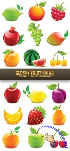 Stock Vector - Glossy Fruit Icons | ��������� ������ ������