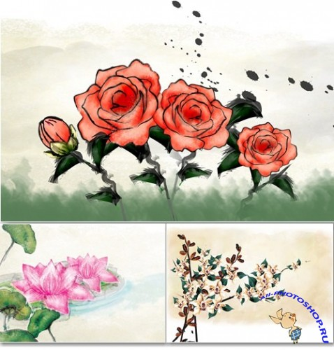 Painting Flowers #4 PSD