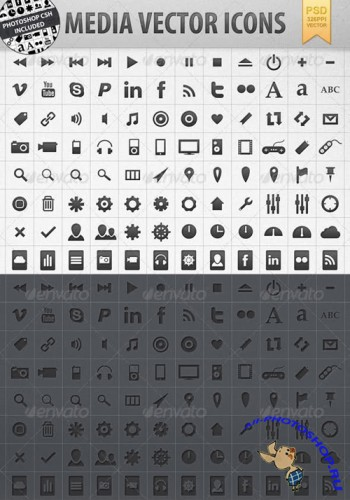 Graphic River - Media Vector Shape Icons incl. CSH