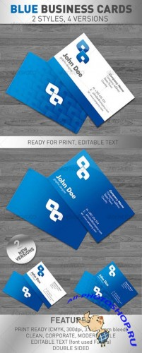 Blue Business Cards Templates for Photoshop