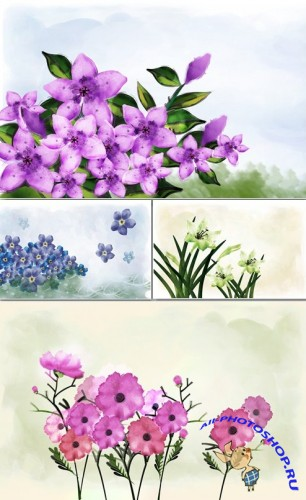Painting Flowers #5 PSD