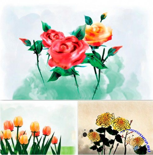 Painting Flowers #6 PSD