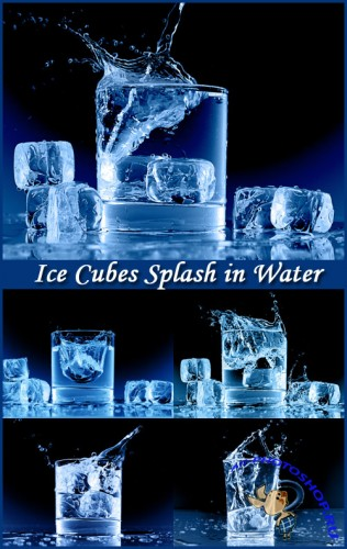Ice Cubes Splash in Water - Stock Photos