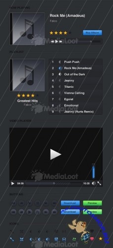 MediaLoot Dark Media Player UI Kit PSD RETAIL