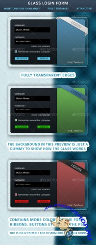 Glass Login Form – GraphicRiver