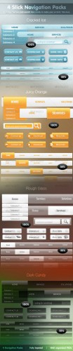 4 Slick Navigation Packs + Buttons & Search Bars - GraphicRiver