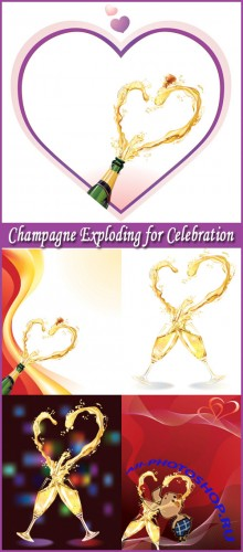 Champagne Exploding for Celebration - Stock Vectors