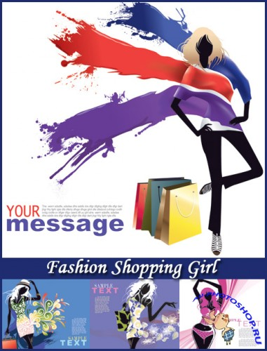 Fashion Shopping Girl - Stock Vectors