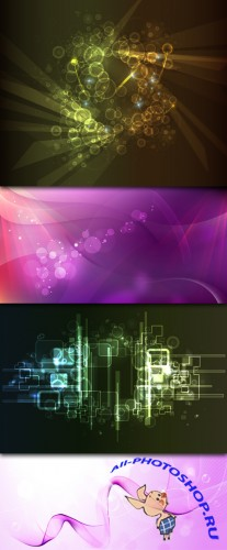 Abstract Vector Backgrounds - Black Hi-Tech & Pink Dreams