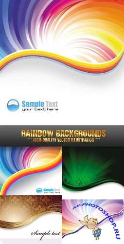 Stock Vector - Rainbow Backgrounds 02 | Радужный фон 02
