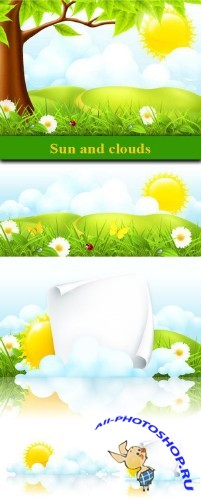 Sun and clouds, vector | ������ � ������, ������