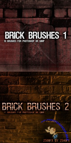 Brick Brush Pack for Photoshop or Gimp (Part 1-2)