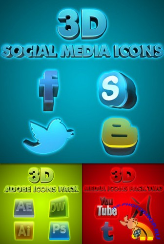 PSD Template - 3D Media Icons Pack