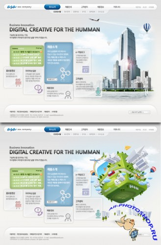 Web Templates - electronic digital city in the human