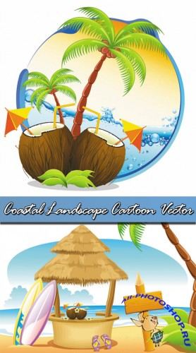 Coastal Landscape Cartoon Vector