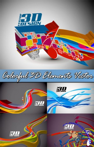 Colorful 3D Elements Vector