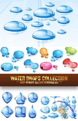 Water Drops Collection - Vector Stock | Водяные капли, вектор