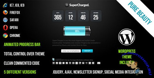 SuperCharged - ThemeForest Under Construction Template + WordPress Theme