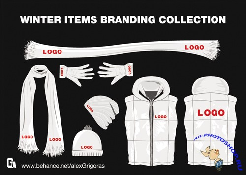 Winter Items Branding Collection Vector