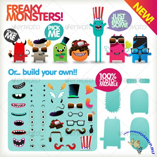 Freaky Monsters!! - GraphicRiver