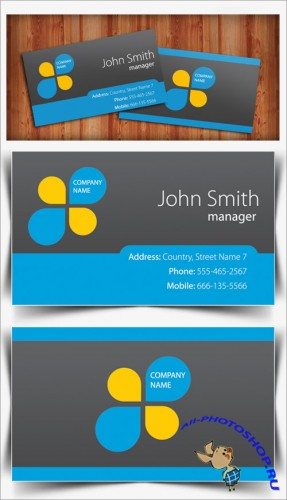 PSD Template - Gray and Blue Business Card