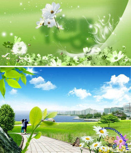Летняя природа | Green Summer  (PSD templates)
