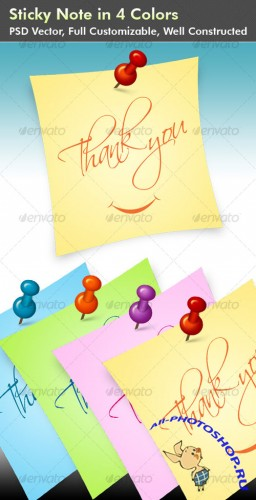 Sticky Note with push pin in 4 Colors - GraphicRiver