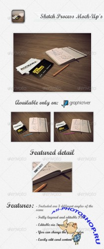 GraphicRiver - Buisiness Card Sketch Process Mock-Up's
