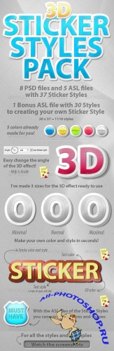 GraphicRiver - 3D Sticker Styles Pack