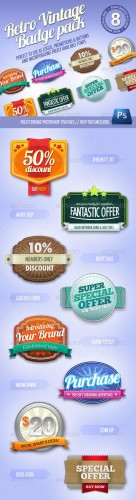 GraphicRiver - 8 Retro Vintage badges
