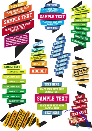 Vector Text Ribbons Pack