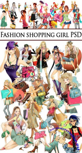 PSD Clipart -  Fashion shopping girl