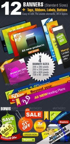 GraphicRiver - 12 BANNERS -4 Sizes + Tags, Ribbons, Buttons