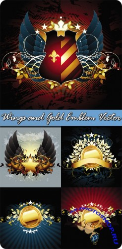 Wings and Gold Emblem Vector