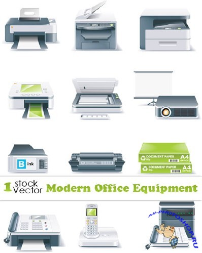 Modern Office Equipment Vector | Современная офисная техника