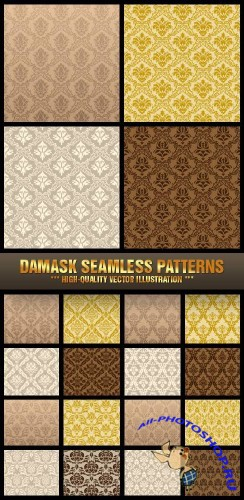 Stock Vector - Damask Seamless Patterns | Дамасский паттерн