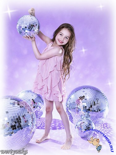 Детский шаблон - Девочка с зеркальными шарами