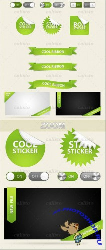 GraphicRiver - Greene UI Pack - Switches, Stickers, Ribbons, Boxes