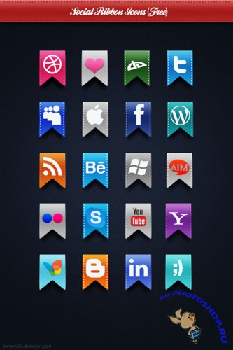Social Ribbon Icons Pack