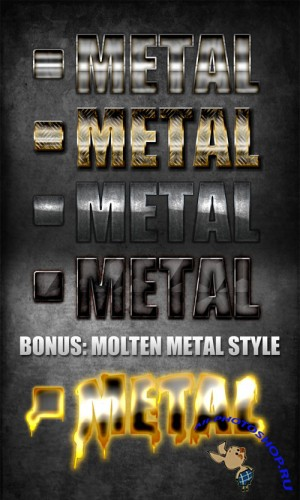 Metal Styles Pack for Photoshop + Bonus