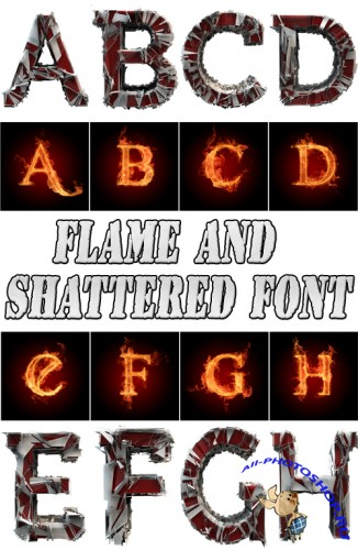 Flame and shattered font